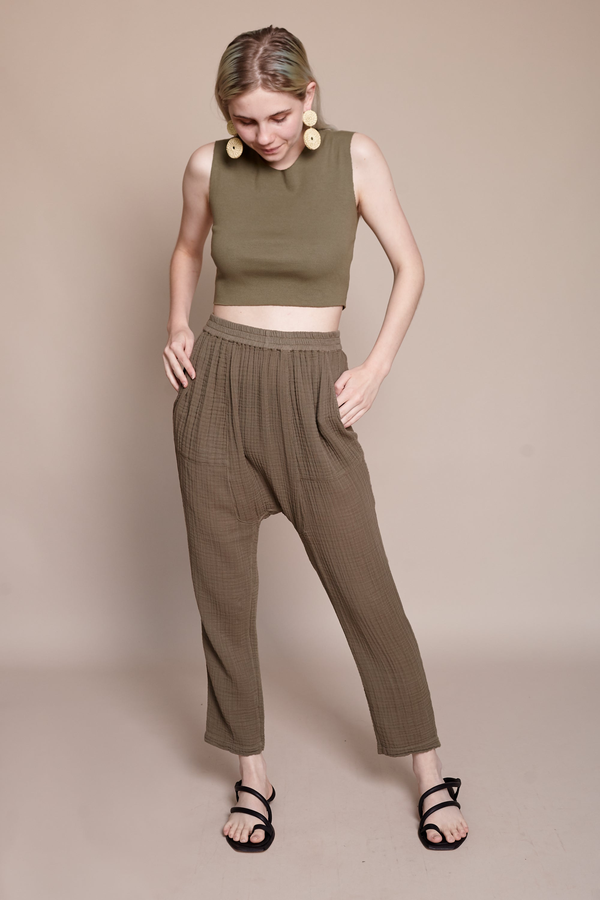 Raquel Allegra Crop Tank in Army - Vert & Vogue