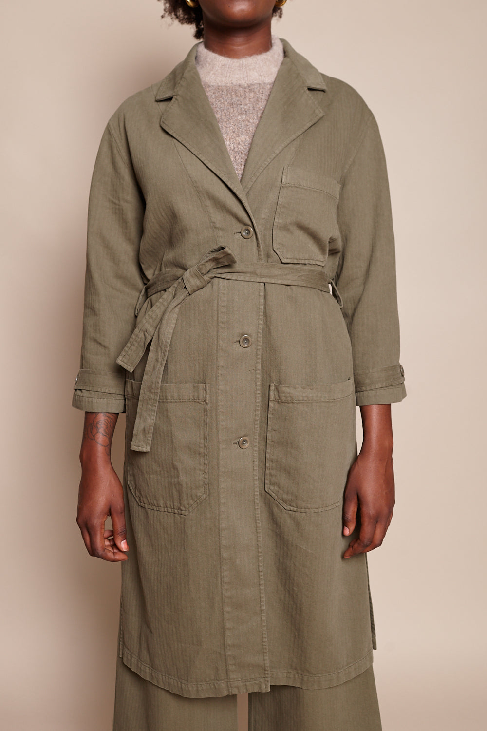 First Rite Shop Coat in Olive - Vert & Vogue