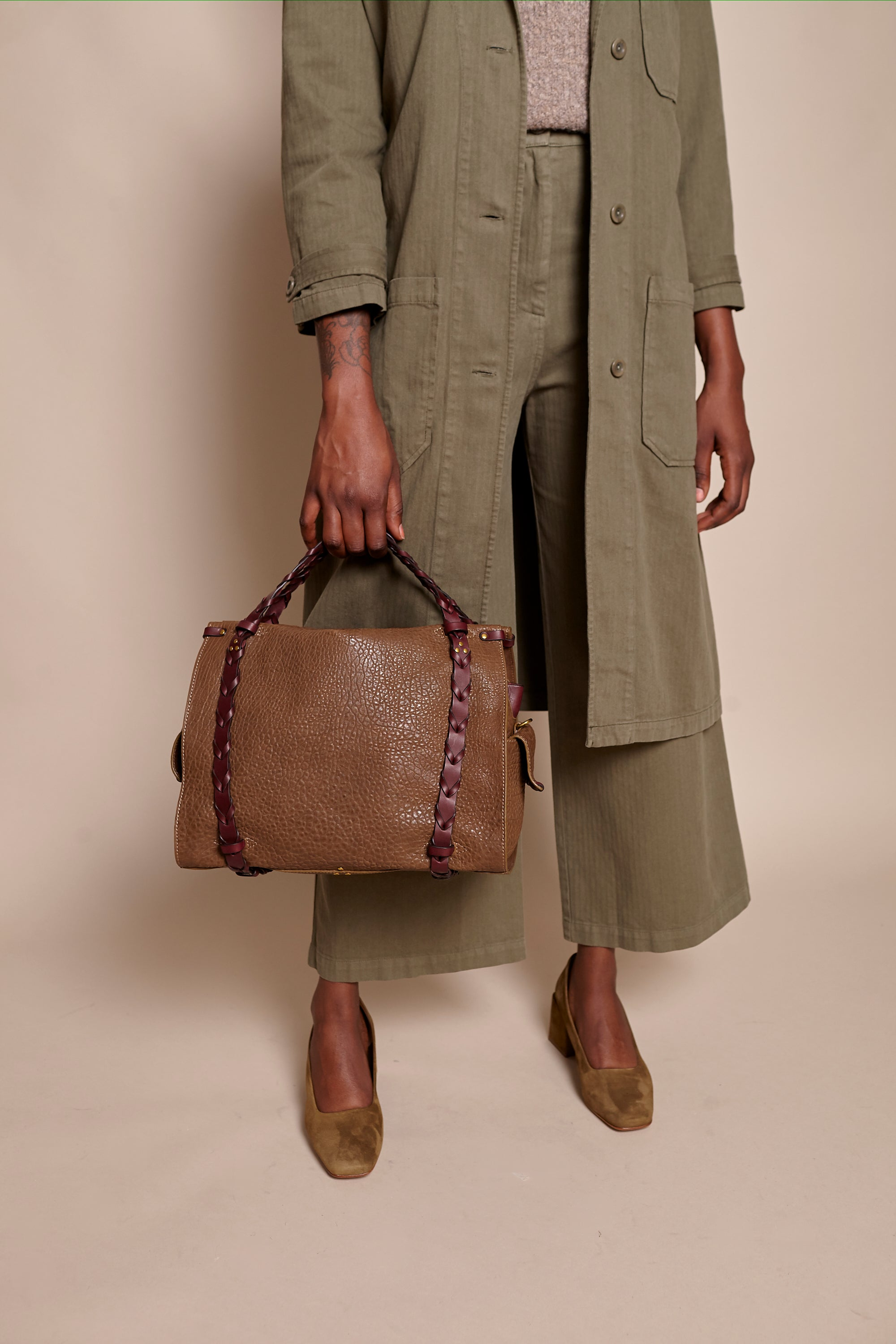 Jerome Dreyfuss Yannick Handbag in Bronze - Vert & Vogue