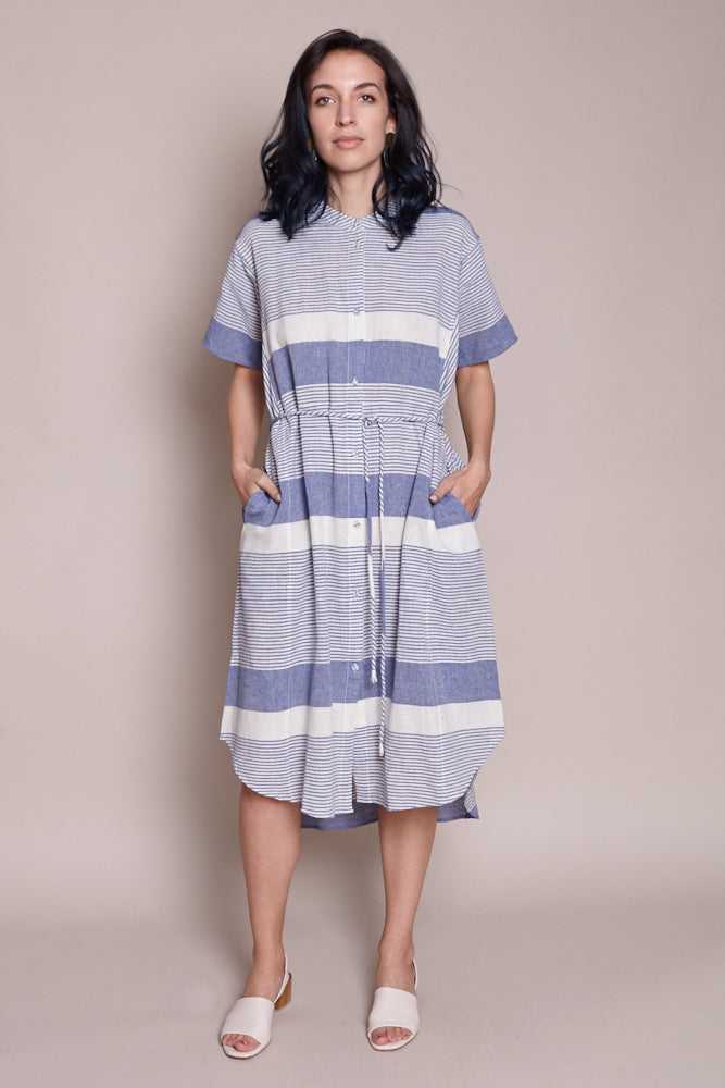 Martine Shirt Dress in Cote Stripe Navy