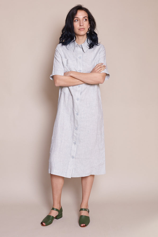 Pinstripe Shirtdress in Blue Stripe