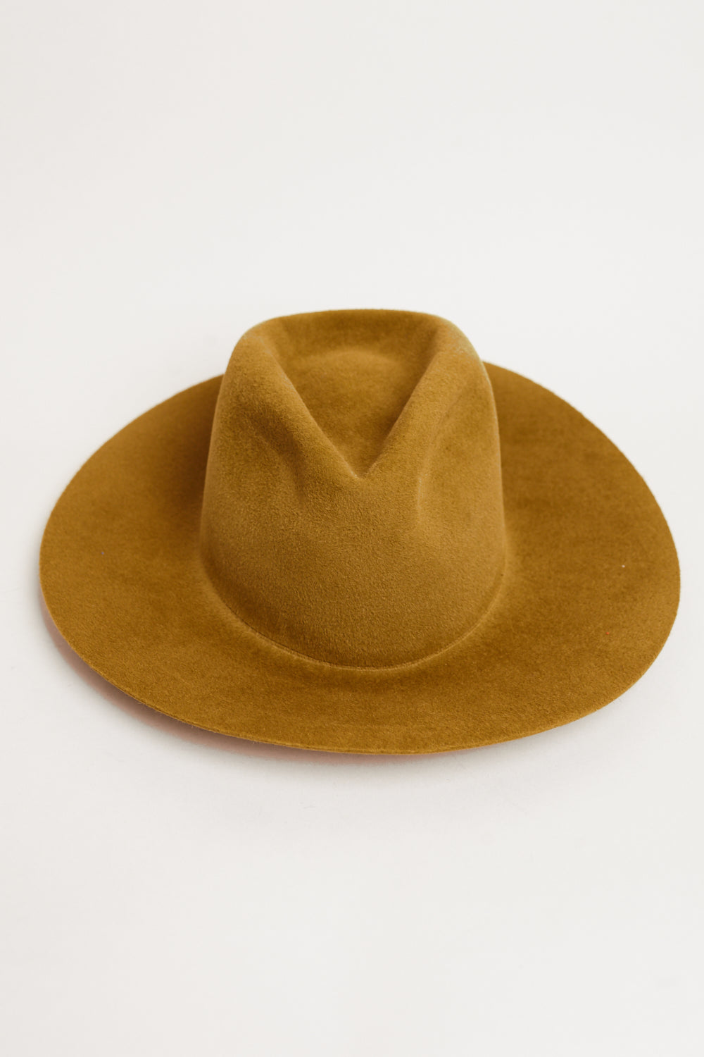 Wide Brim Pinch Hat in Burnt Gold