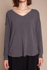 French Terry L/S V Neck in Flanelle