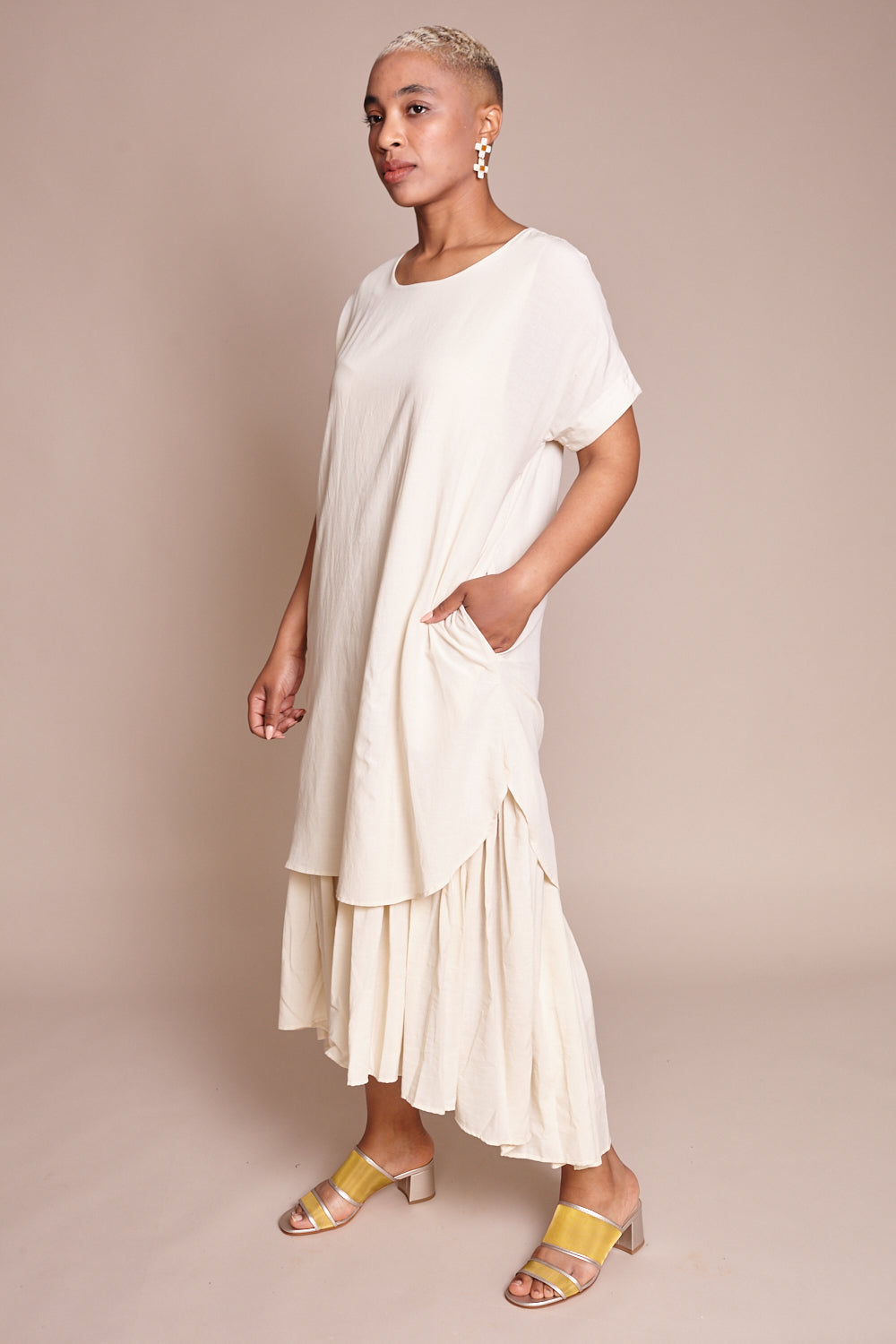 Black Crane Double Dress in Cream - Vert & Vogue
