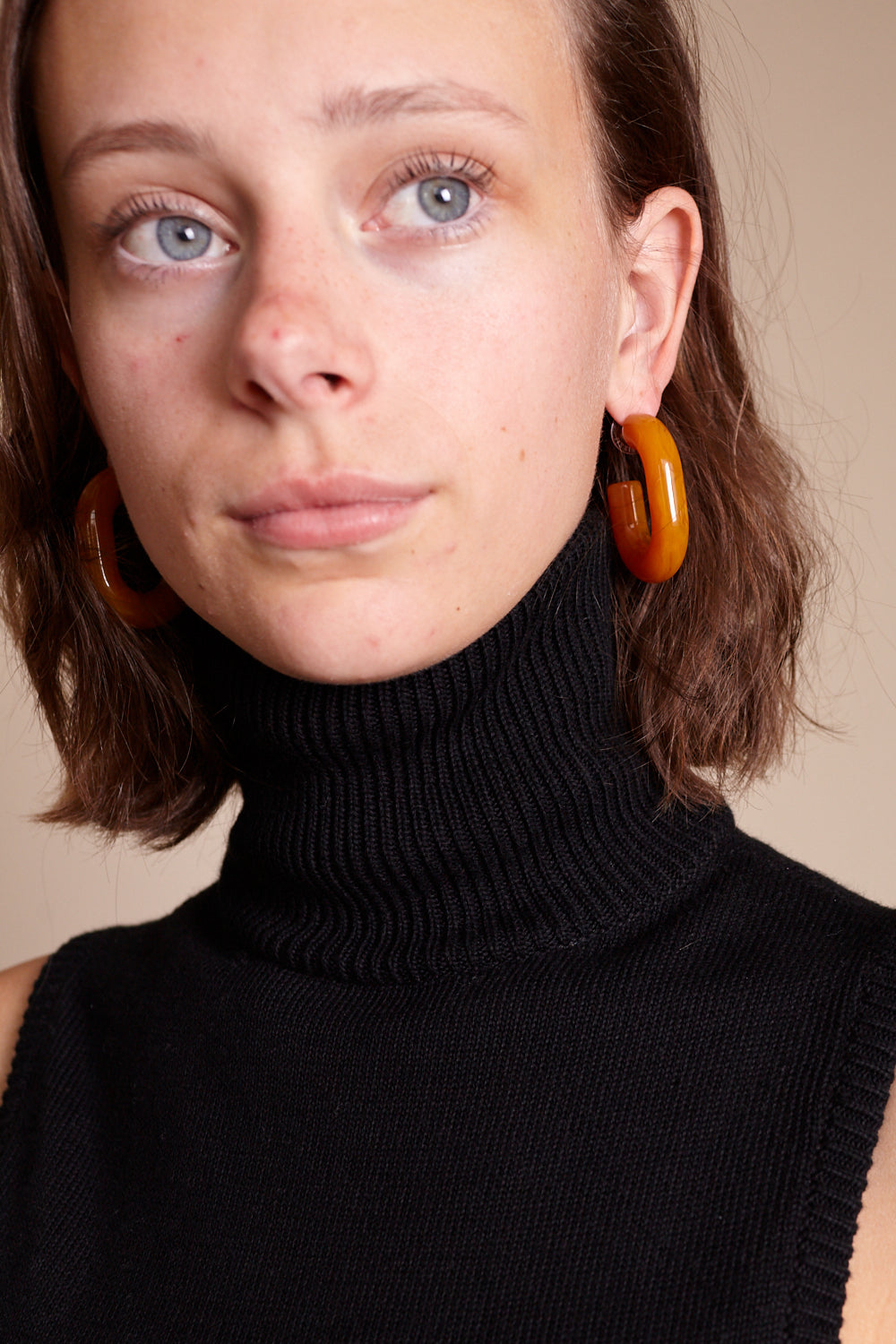 Small Keeper Earring in Orange Marble