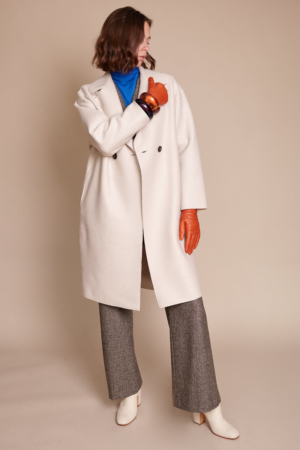 Dropped Shoulder Pressed Wool Coat in Cream