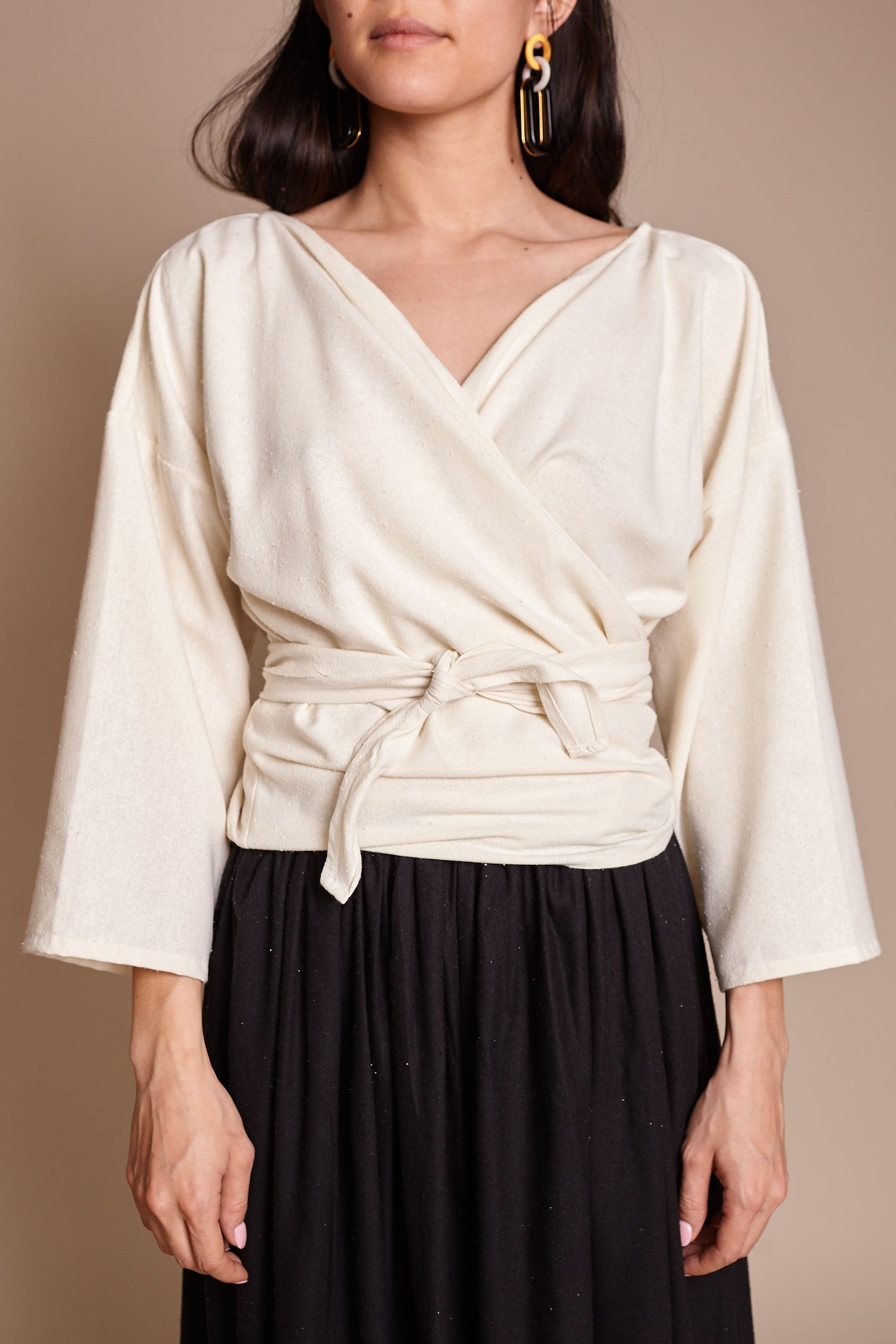 Wrap Top in Natural