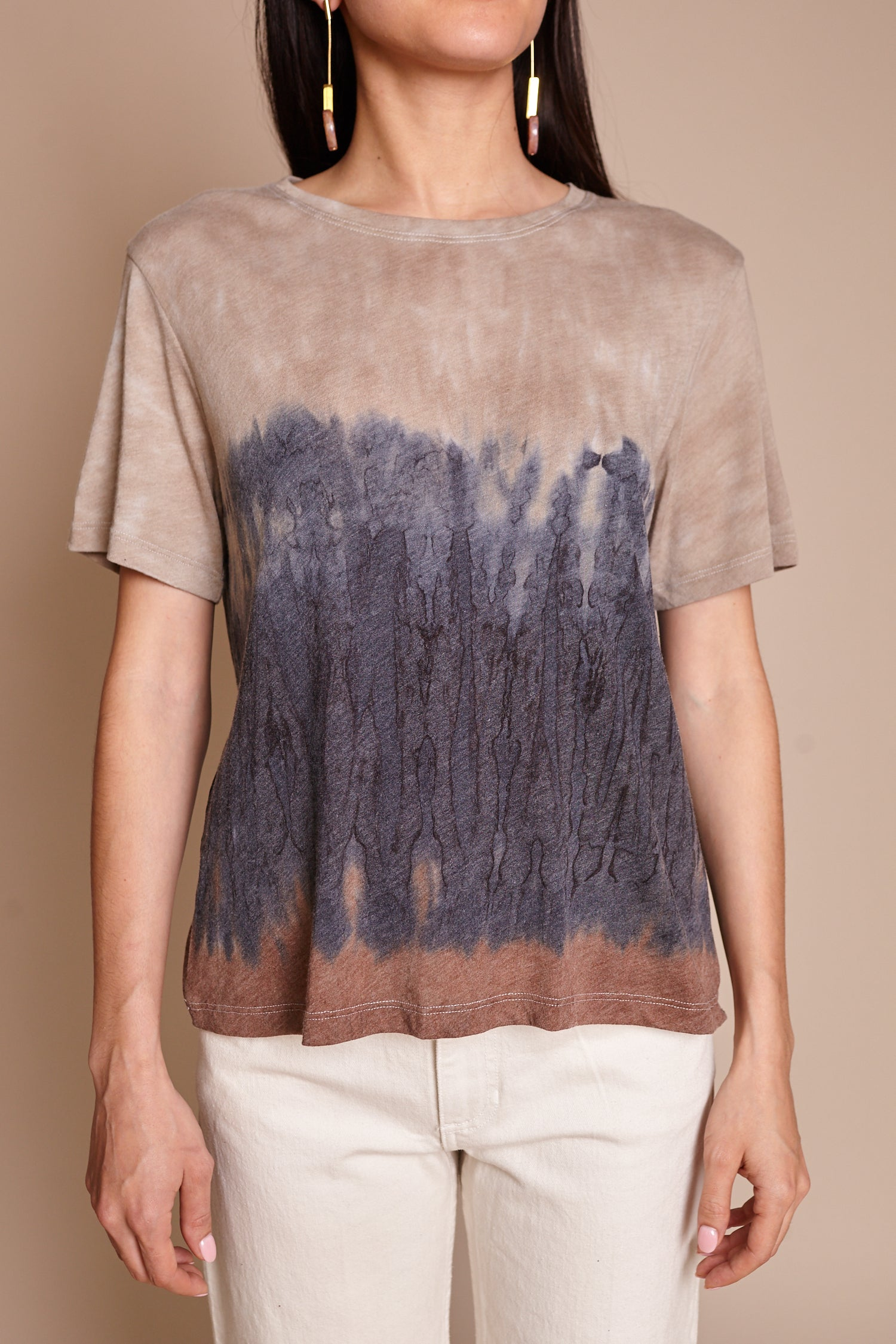 Raquel Allegra Boxy Tee in Caves Tie Dye - Vert & Vogue