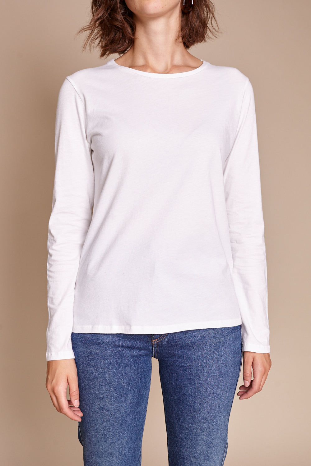 Silk-Touch L/S Crew in Blanc
