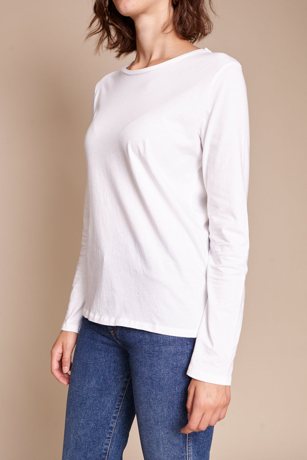 Majestic Silk-Touch L/S Crew in Blanc - Vert & Vogue