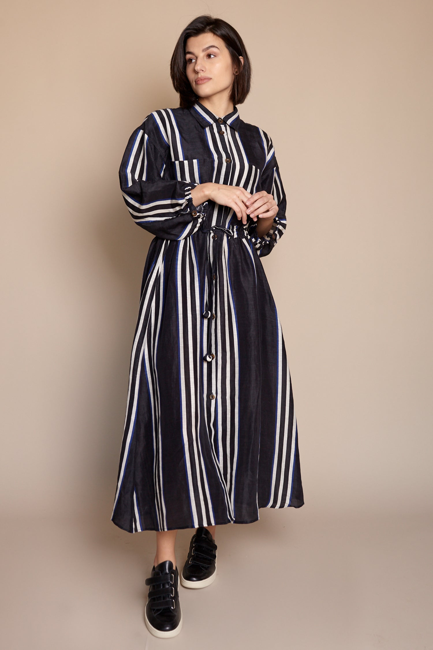 Kimono Shirt Dress in Prado Stripe