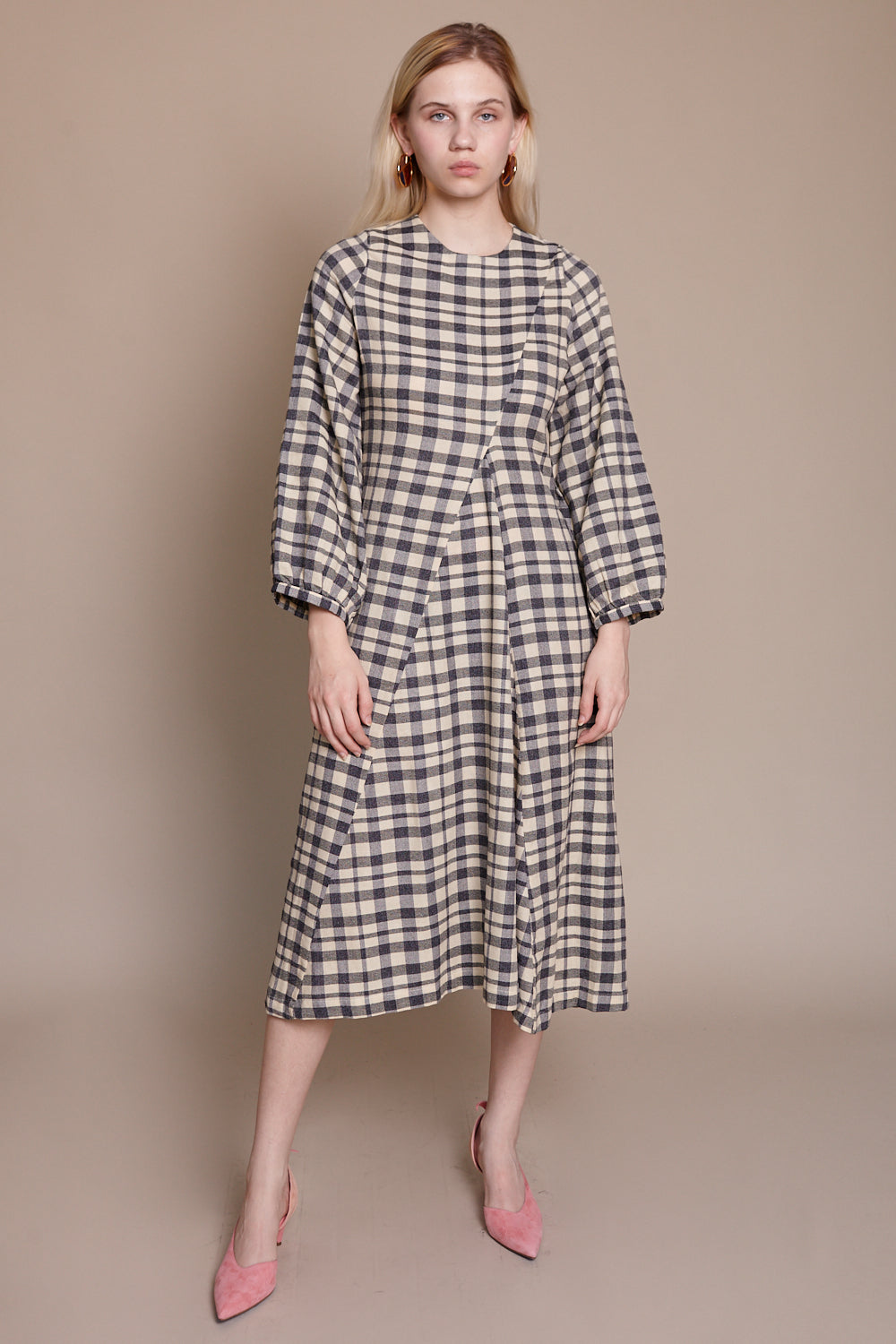 Wray Date Dress in Grey Check - Vert & Vogue