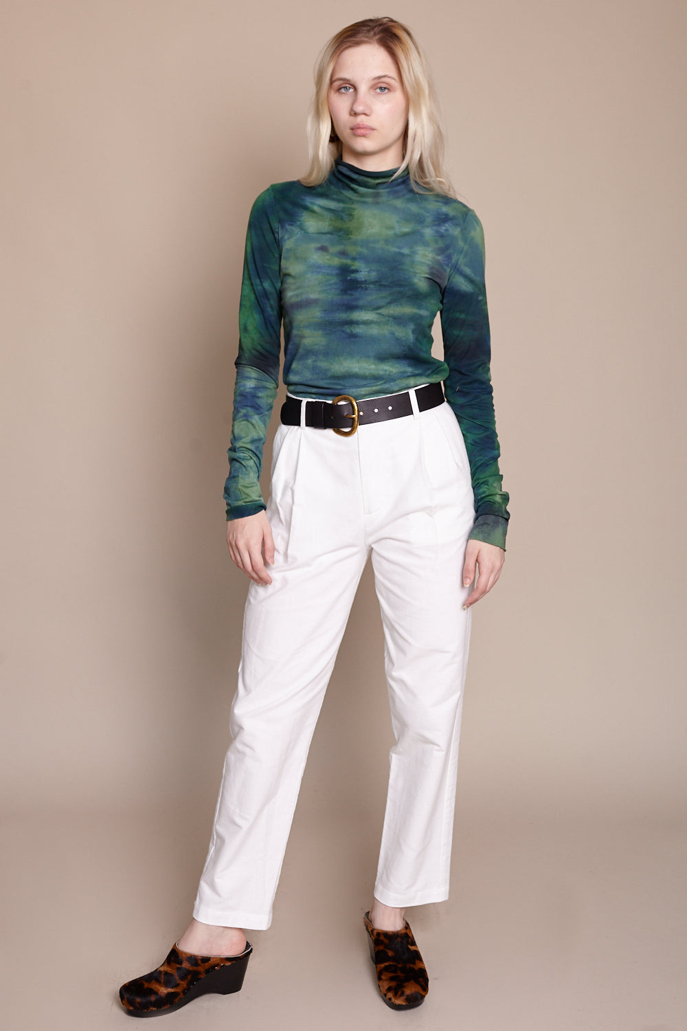 Long Sleeve Turtleneck in Jade Tie Dye