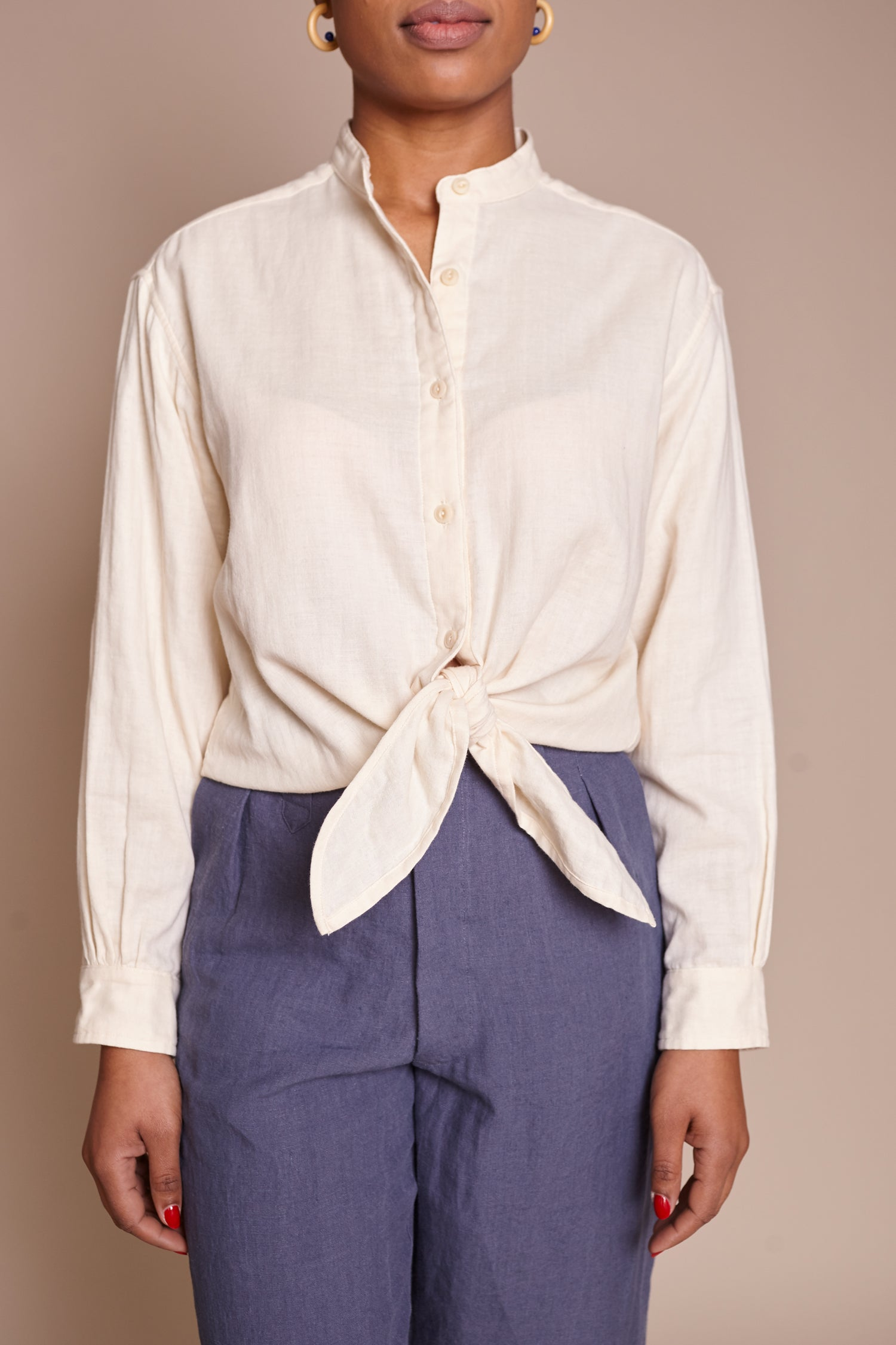 Long Sleeve Tie Top in Vanilla