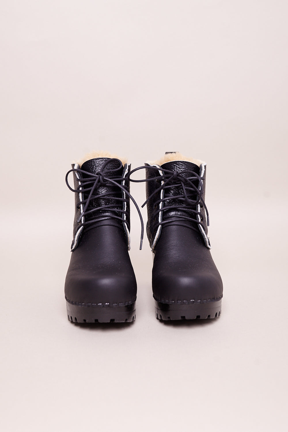 Lander Lace up Shearling Clog Boot in Ink Aviator