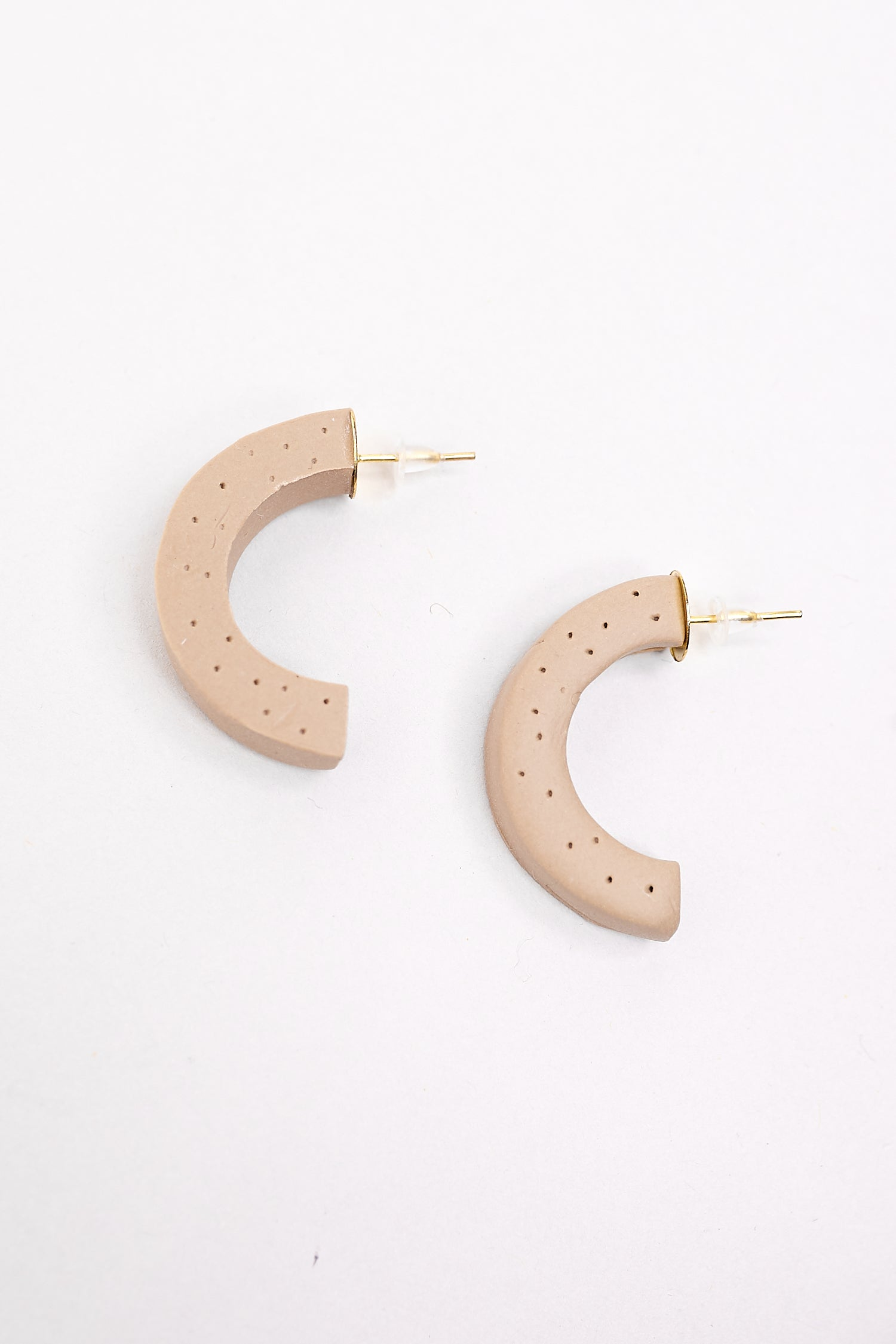 Crescent Hoop Earrings in Latte