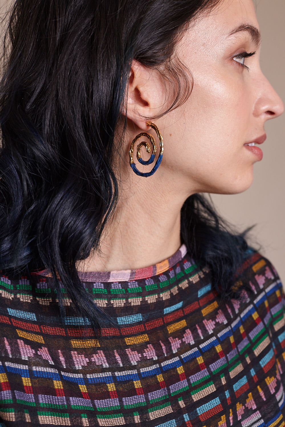 Spiral Earrings in Navy