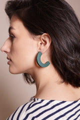 Large Crescent Earrings in Green Perf