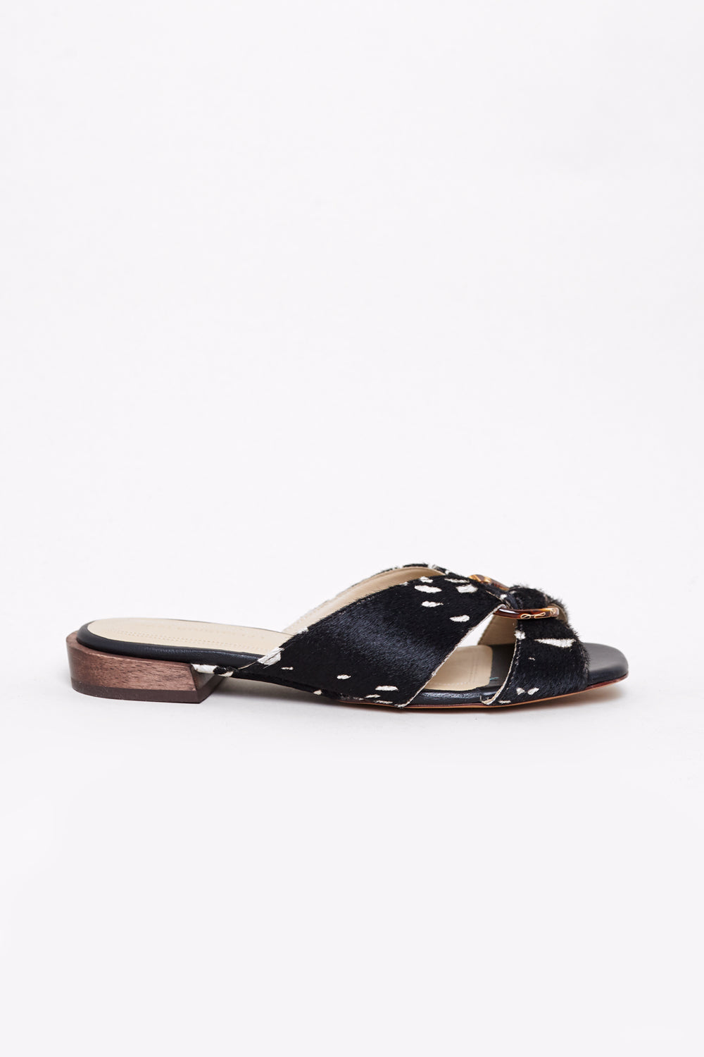 Cissa Sandal in Black/White Pony