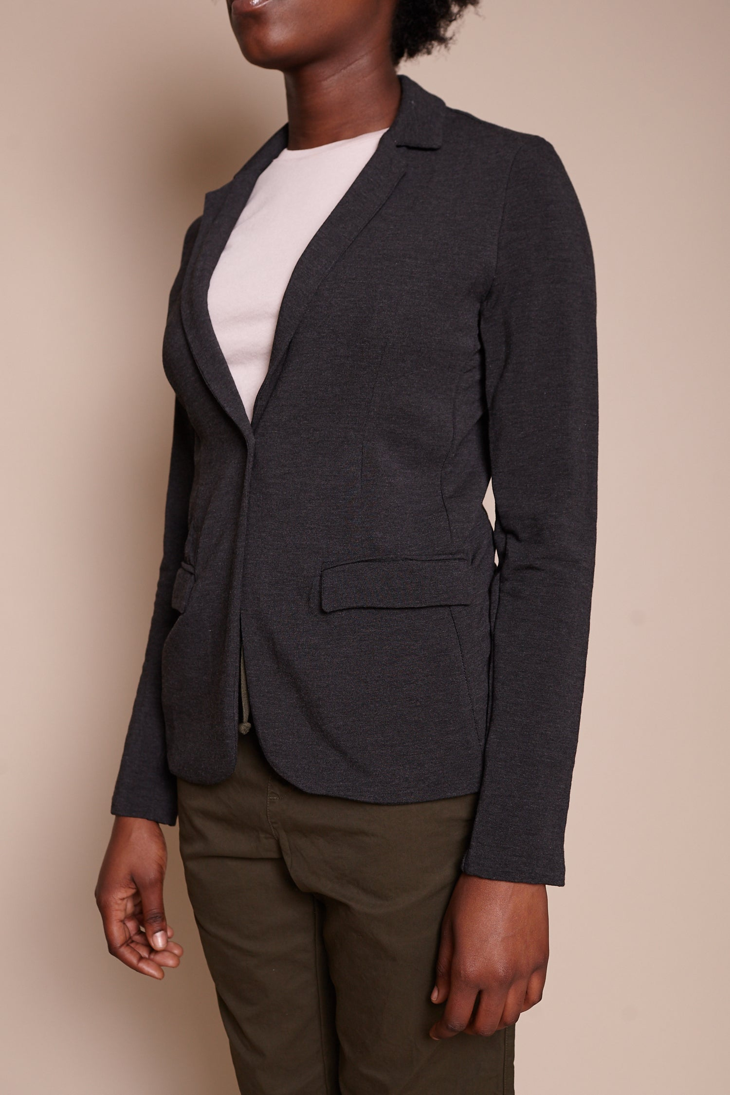 Majestic French Terry Blazer in Anthracite Chine - Vert & Vogue
