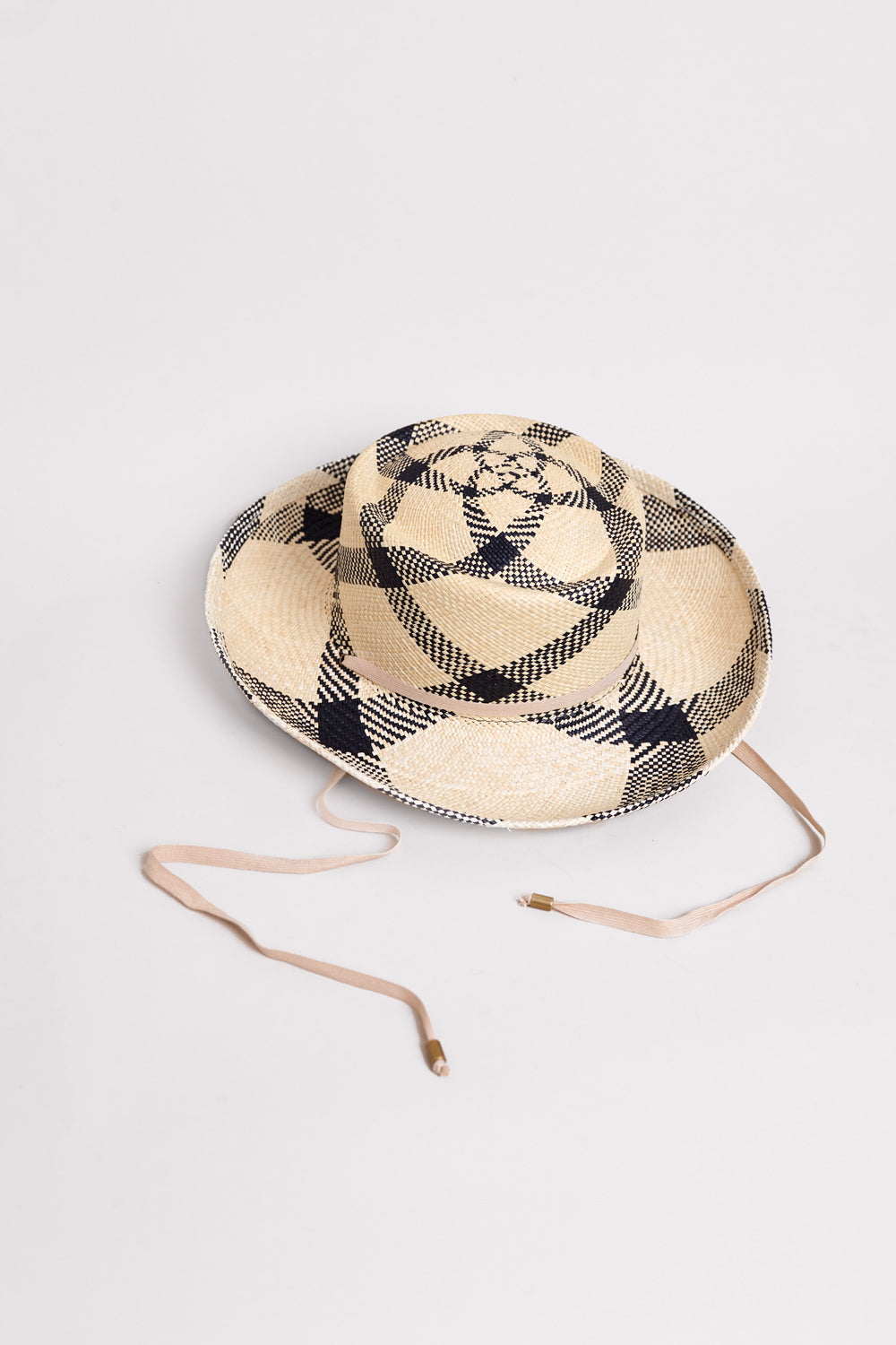 Gambler Hat in Plaid Panama