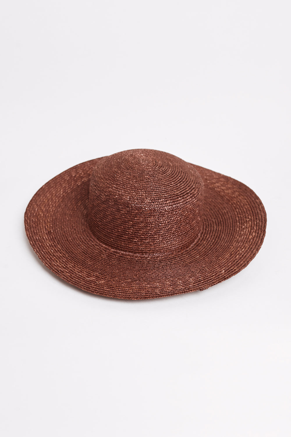 Medium Brim Flat Top Hat With Neckshade in Umber