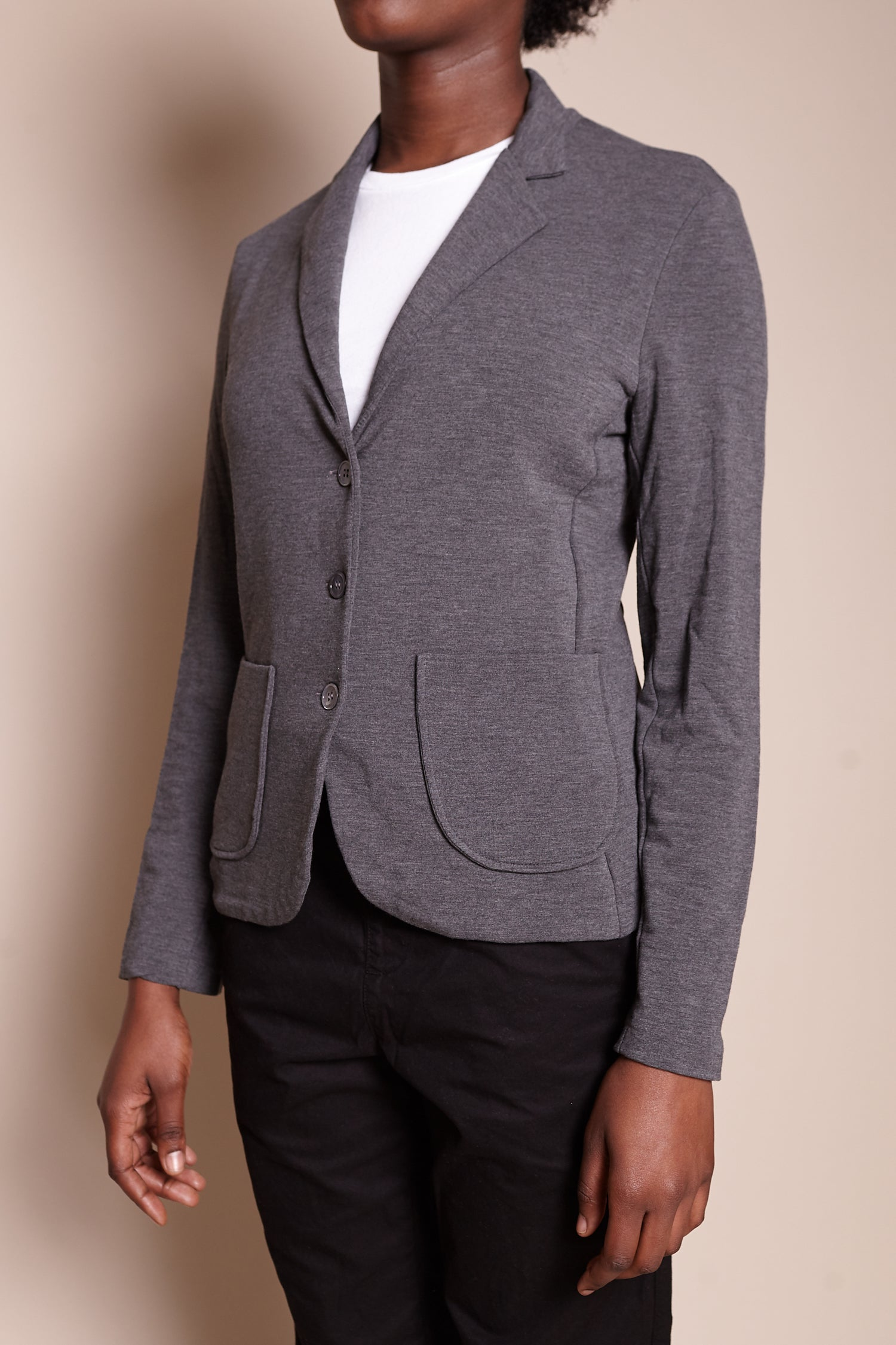 Lea French Terry Blazer in Flanelle