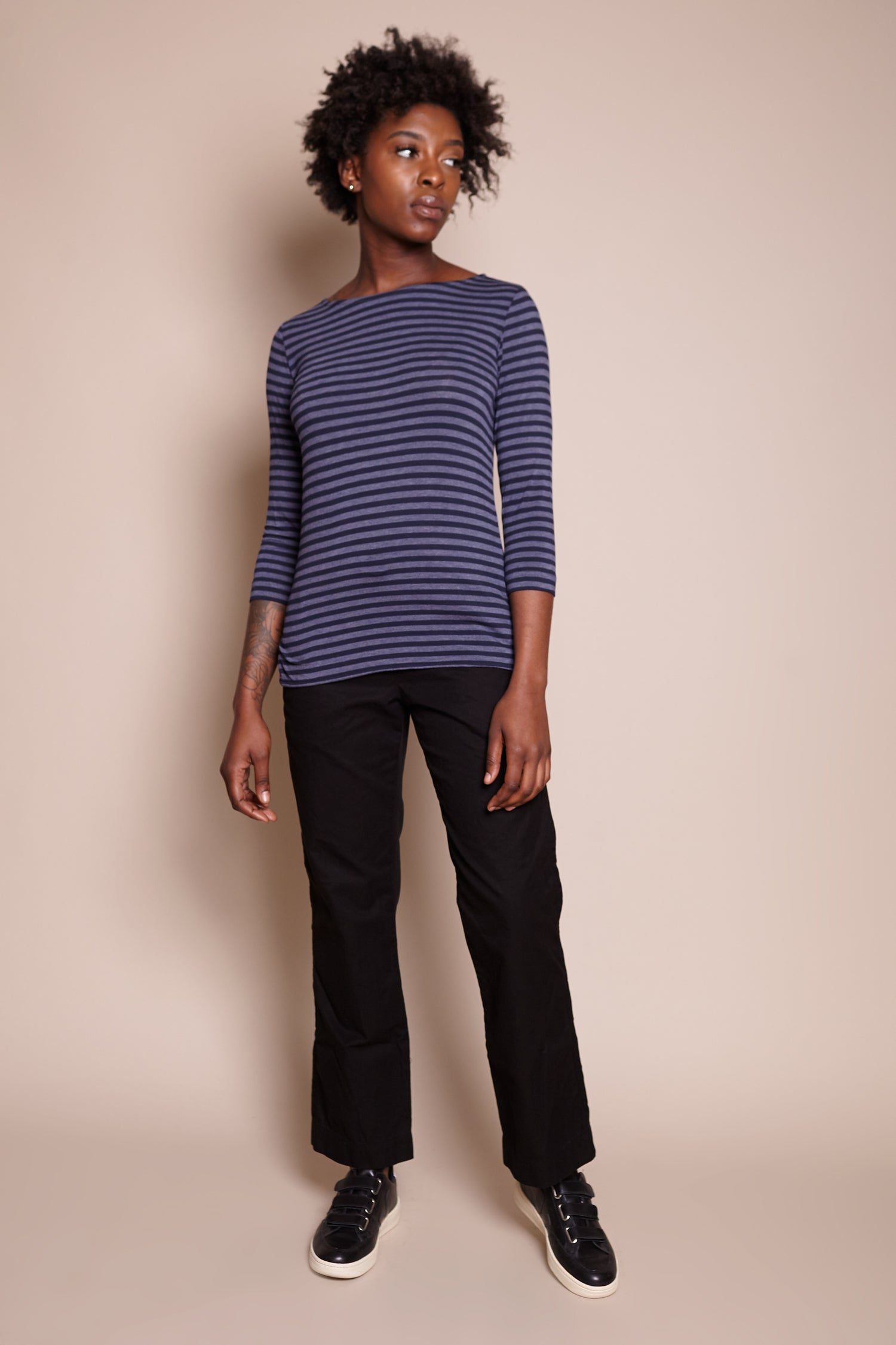 Majestic Boatneck Top in Denim Chine Marine - Vert & Vogue