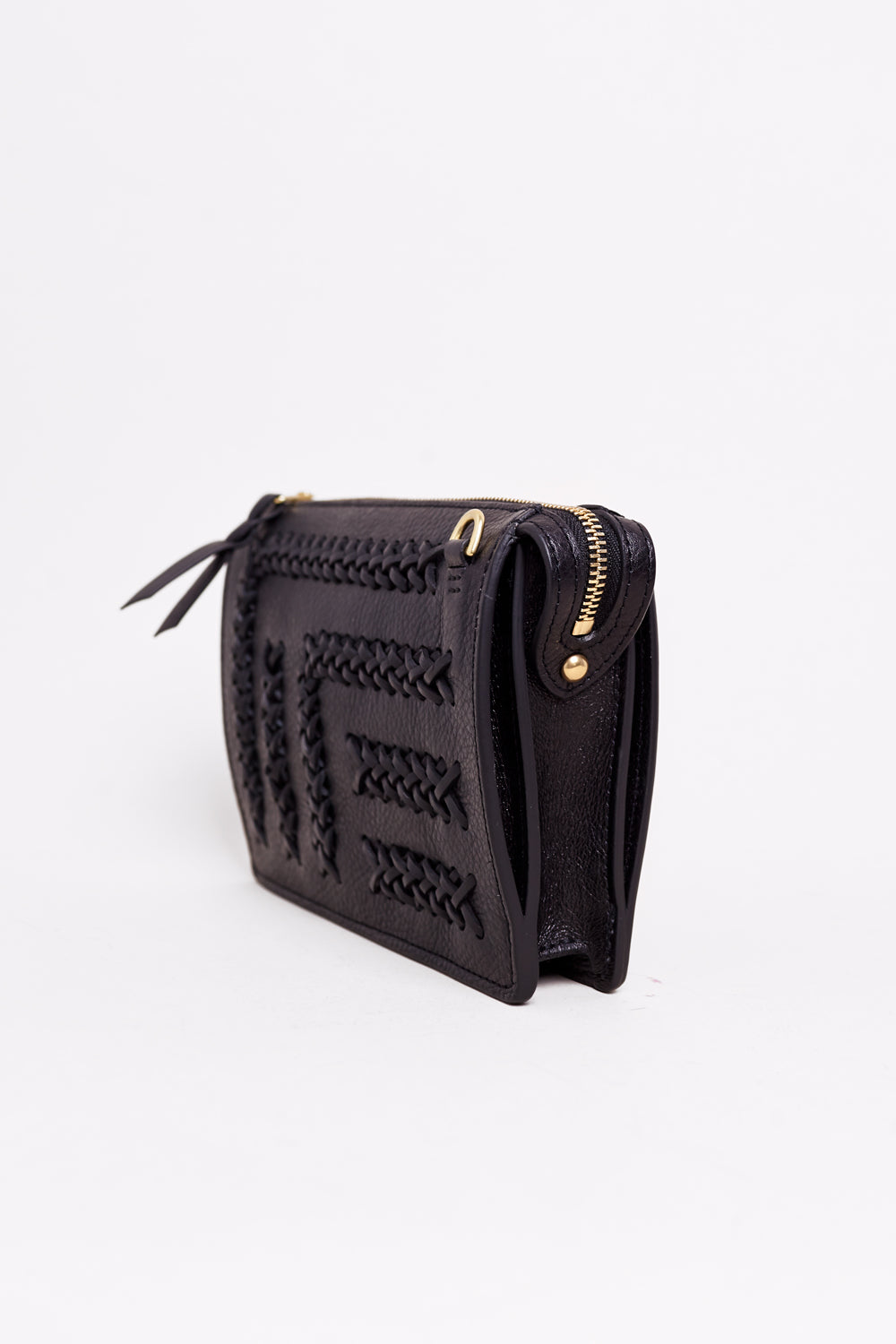 Lotuff Leather The Braided Tripp Crossbody Clutch in Black - Vert & Vogue