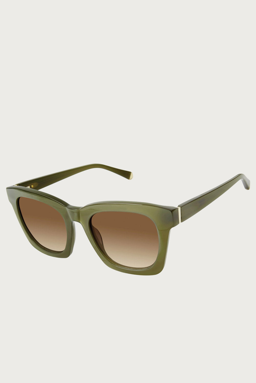 Kate Young For Tura Marley Sunglasses in Khaki - Vert & Vogue
