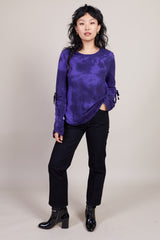 Raquel Allegra Gathered Tie Tee in Purple Tie Dye - Vert & Vogue