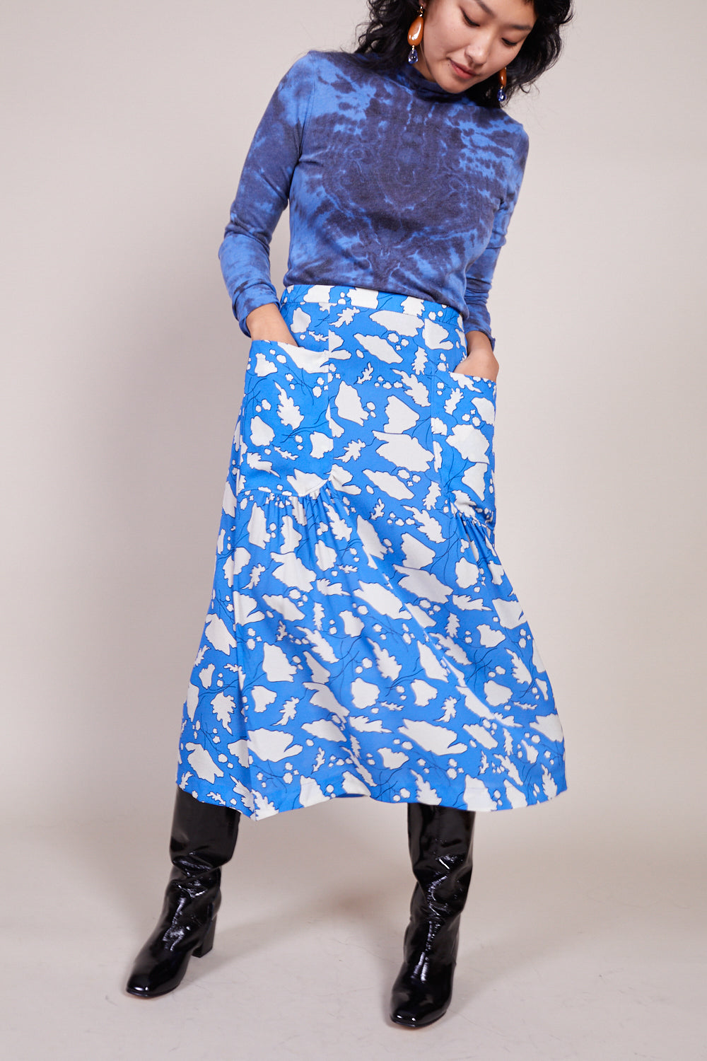 Dreamer Skirt in French Blue Bold Floral