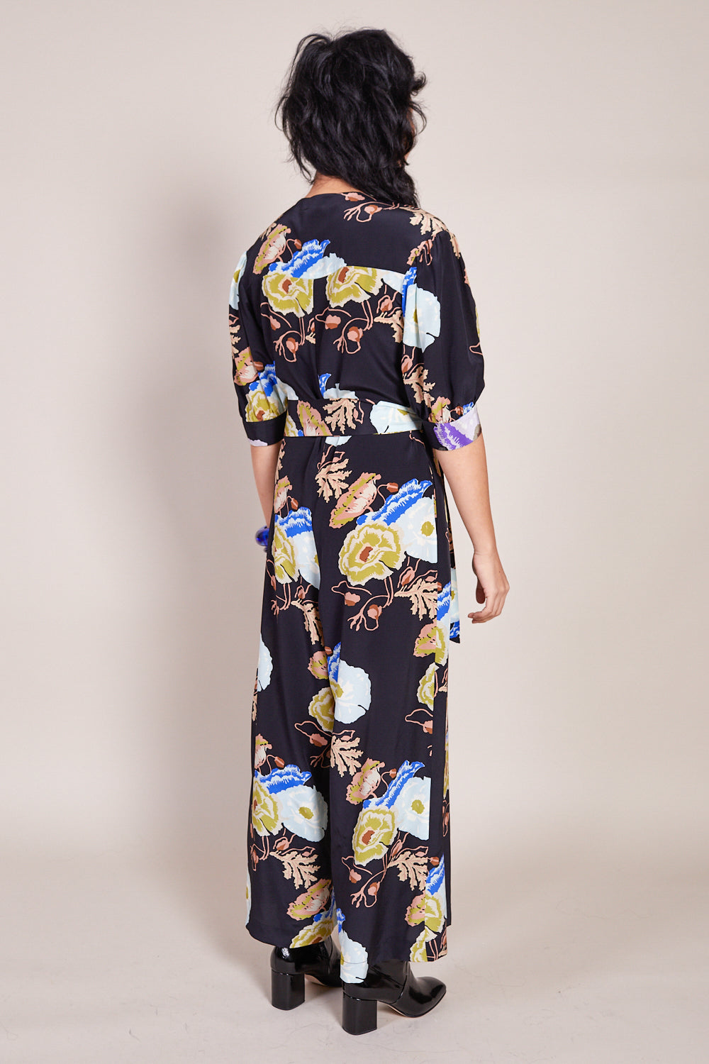 No.6 Francesca Jumpsuit in Black/Blue Hyacinth - Vert & Vogue