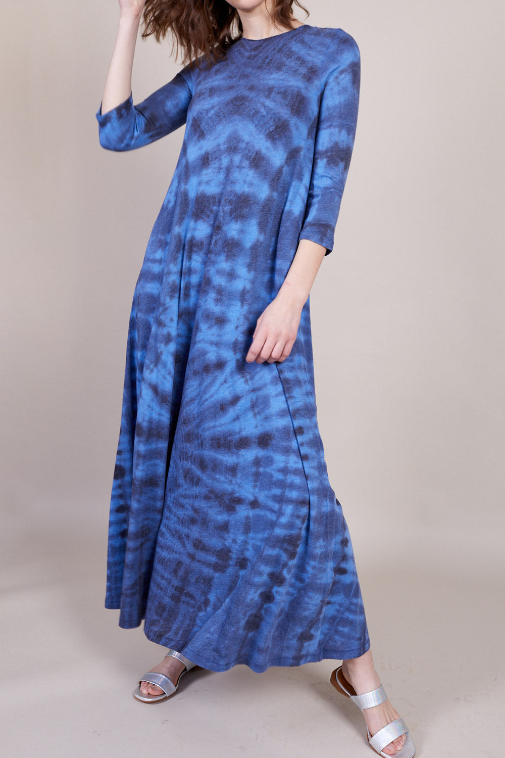 Drama Maxi Dress in Aqua Tie Dye