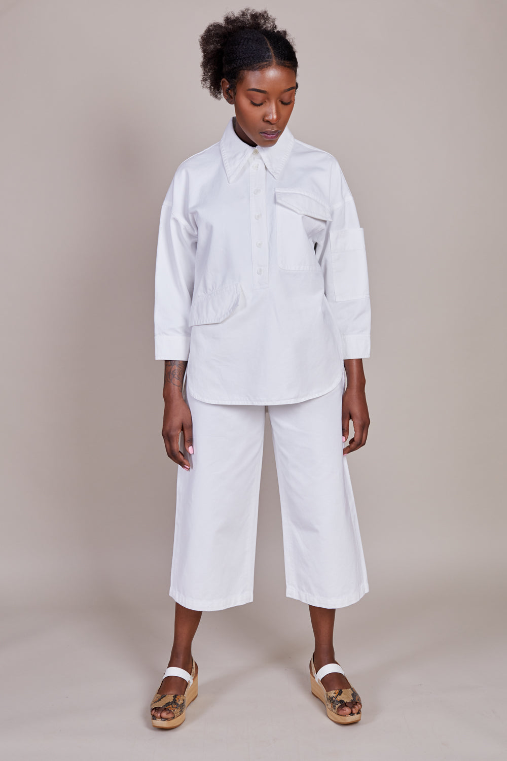 Twill Oversized Cocoon Shirt in White