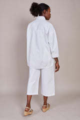 Tibi Twill Oversized Cocoon Shirt in White - Vert & Vogue