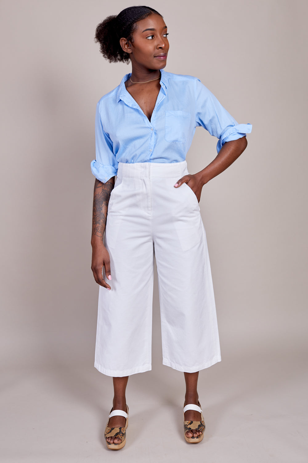Twill Cropped Jean in White
