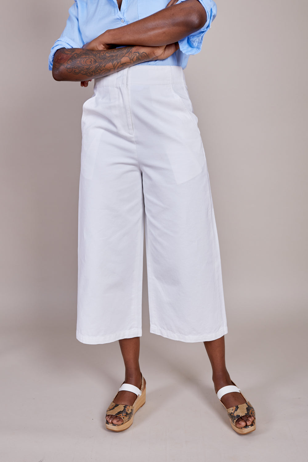 Tibi Twill Cropped Jean in White - Vert & Vogue
