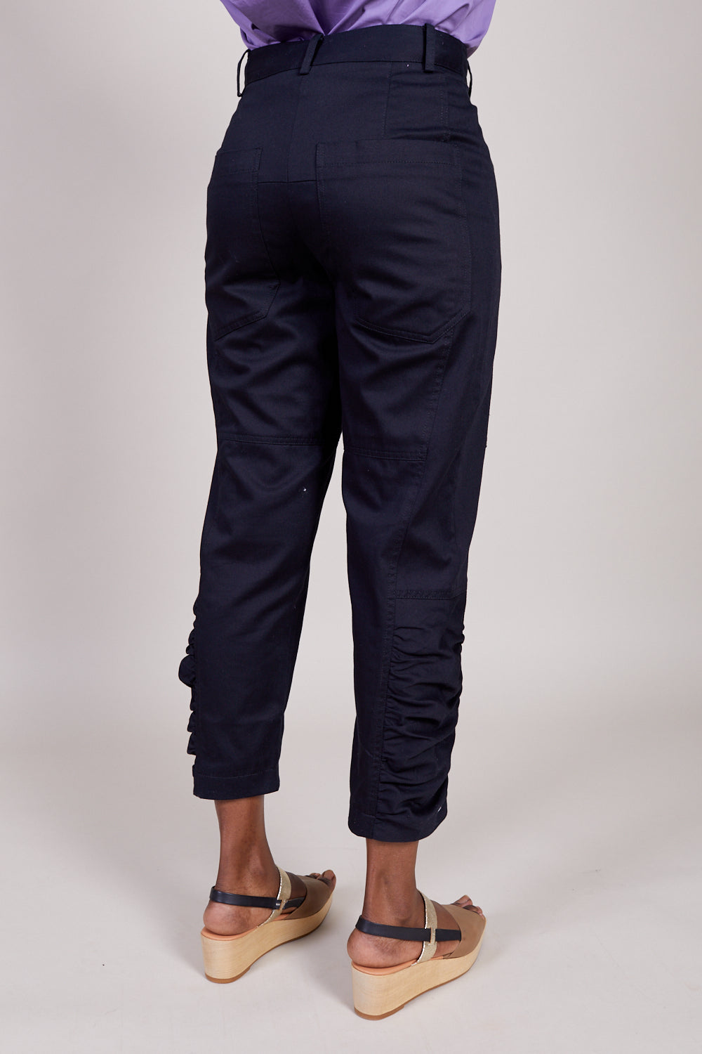 Tibi Harrison Chino Ruched Pant in Black - Vert & Vogue
