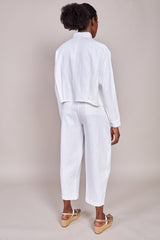 7115 by Szeki Signature 3/4 Cropped Shirt Jacket in Off White - Vert & Vogue