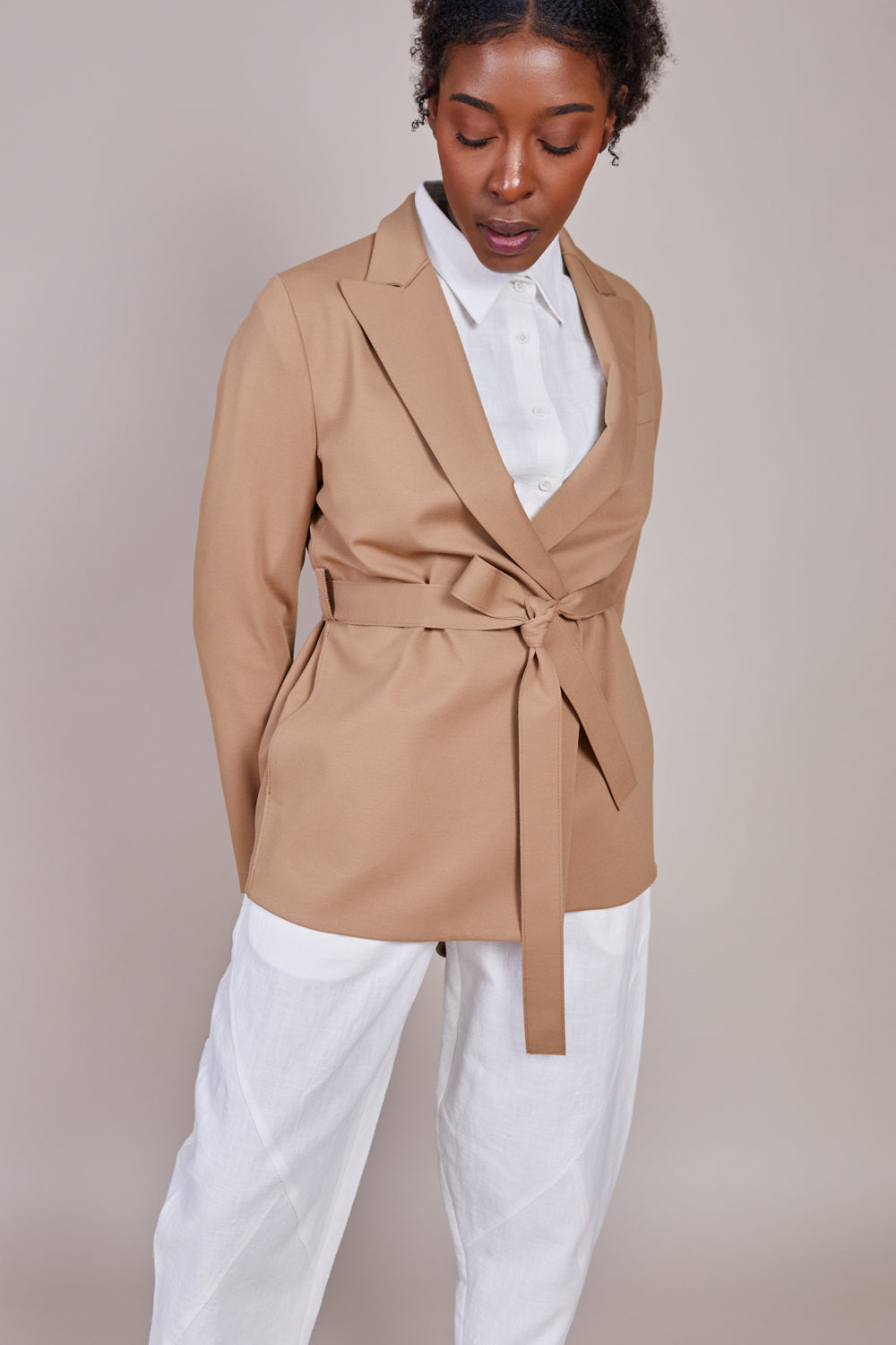 Harris Wharf London Double Breasted Belted Blazer in Tan - Vert & Vogue