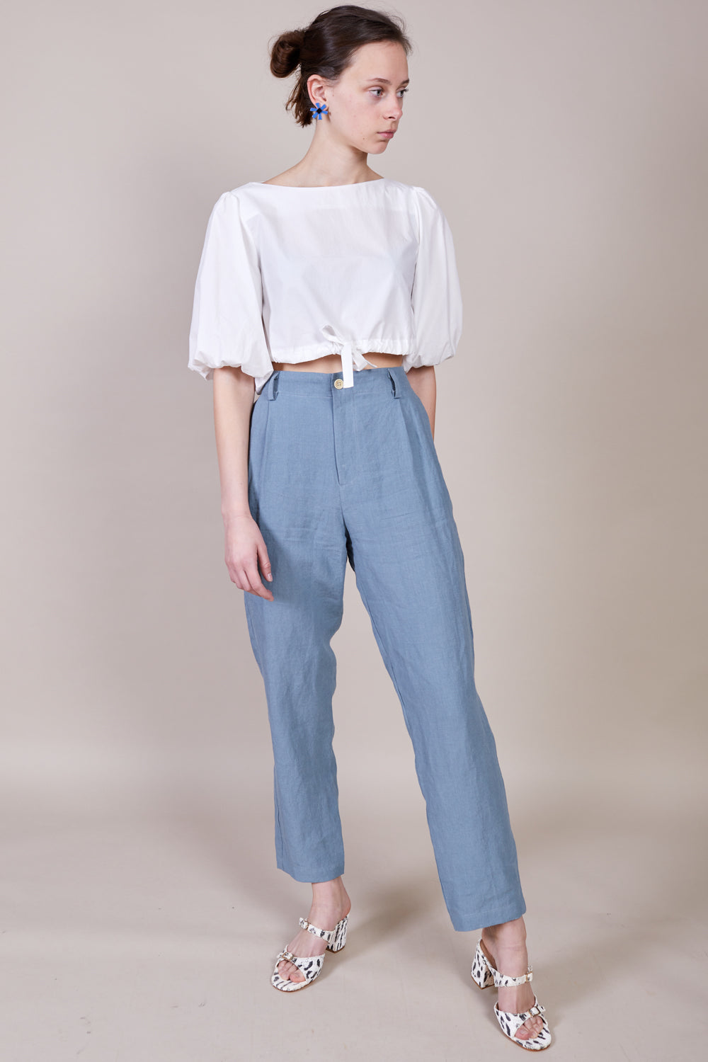 Double Pleat Pant in Steel Blue