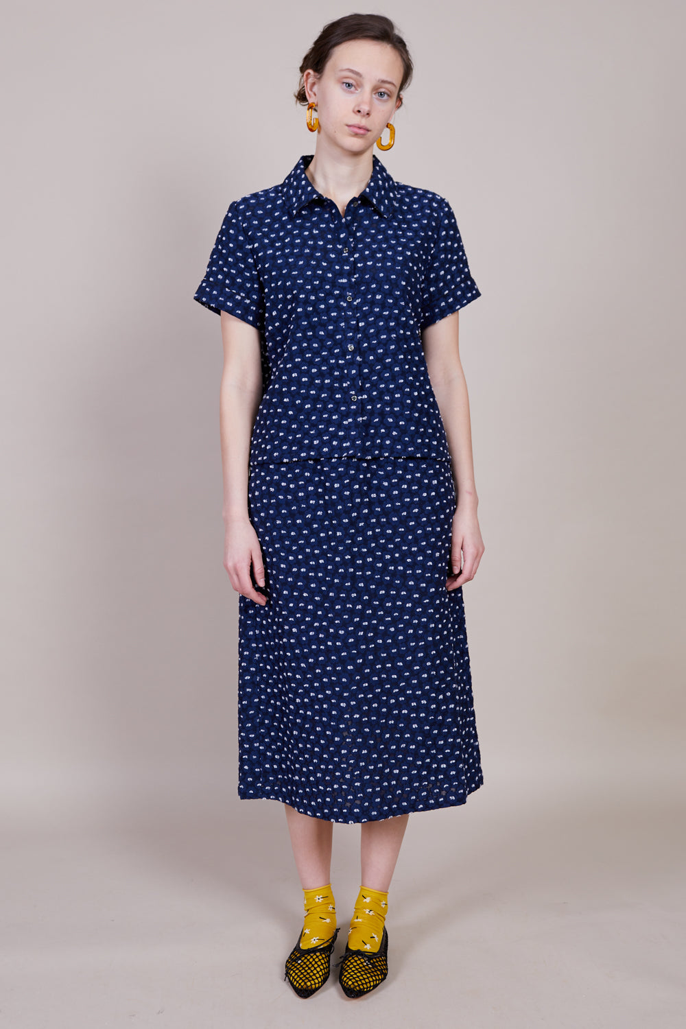 Hansel From Basel Daisy Edith Top in Navy - Vert & Vogue