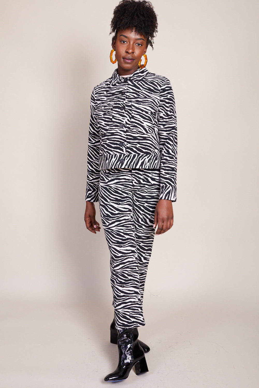 Claudia Jacket in Black and White Zebra