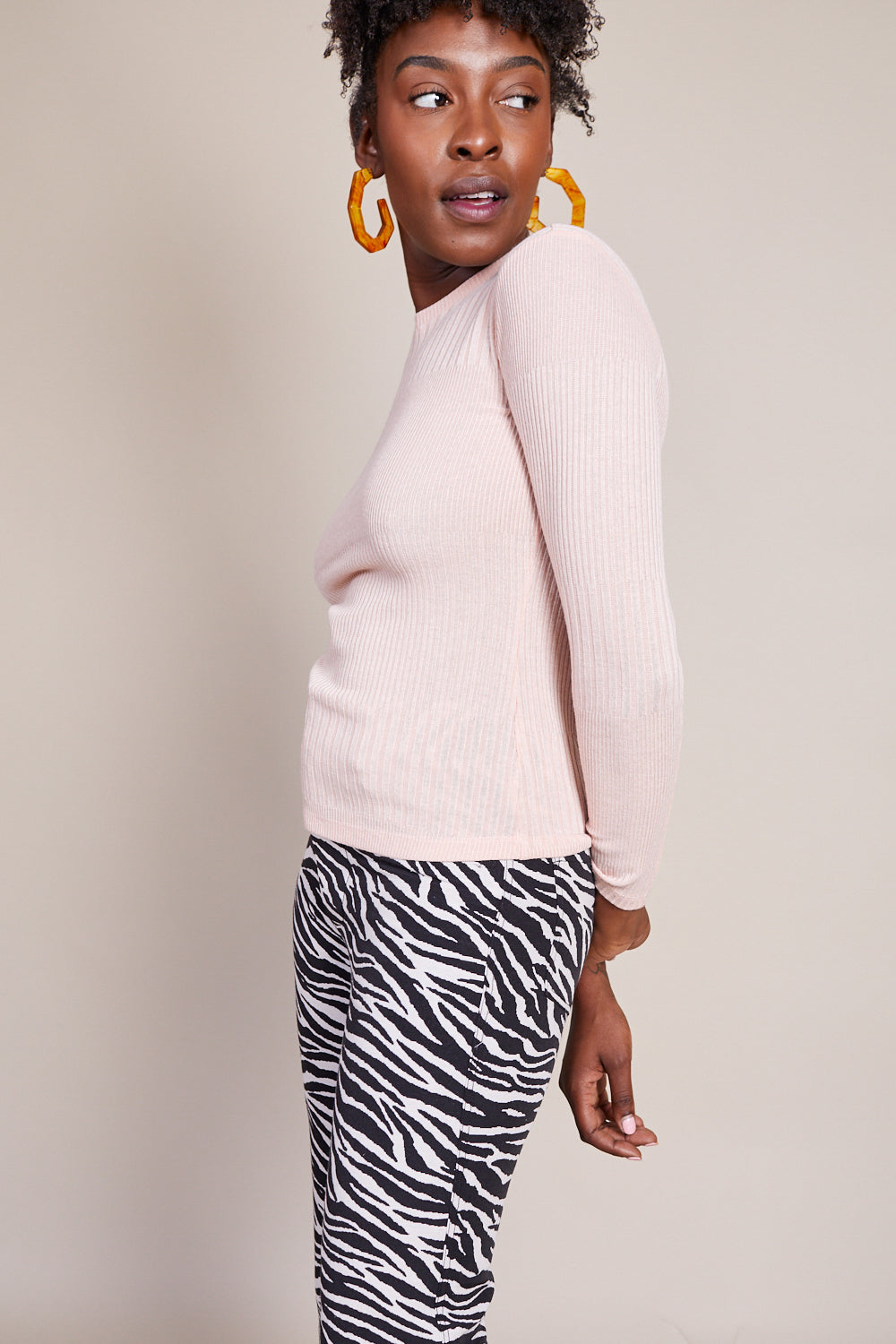 Stellan Crewneck Knit Top in Blush