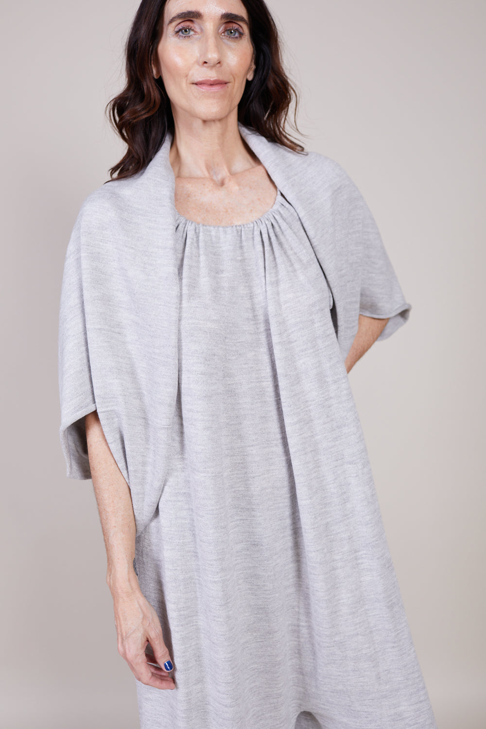 Tube Sleeve Sweater in Light Grey