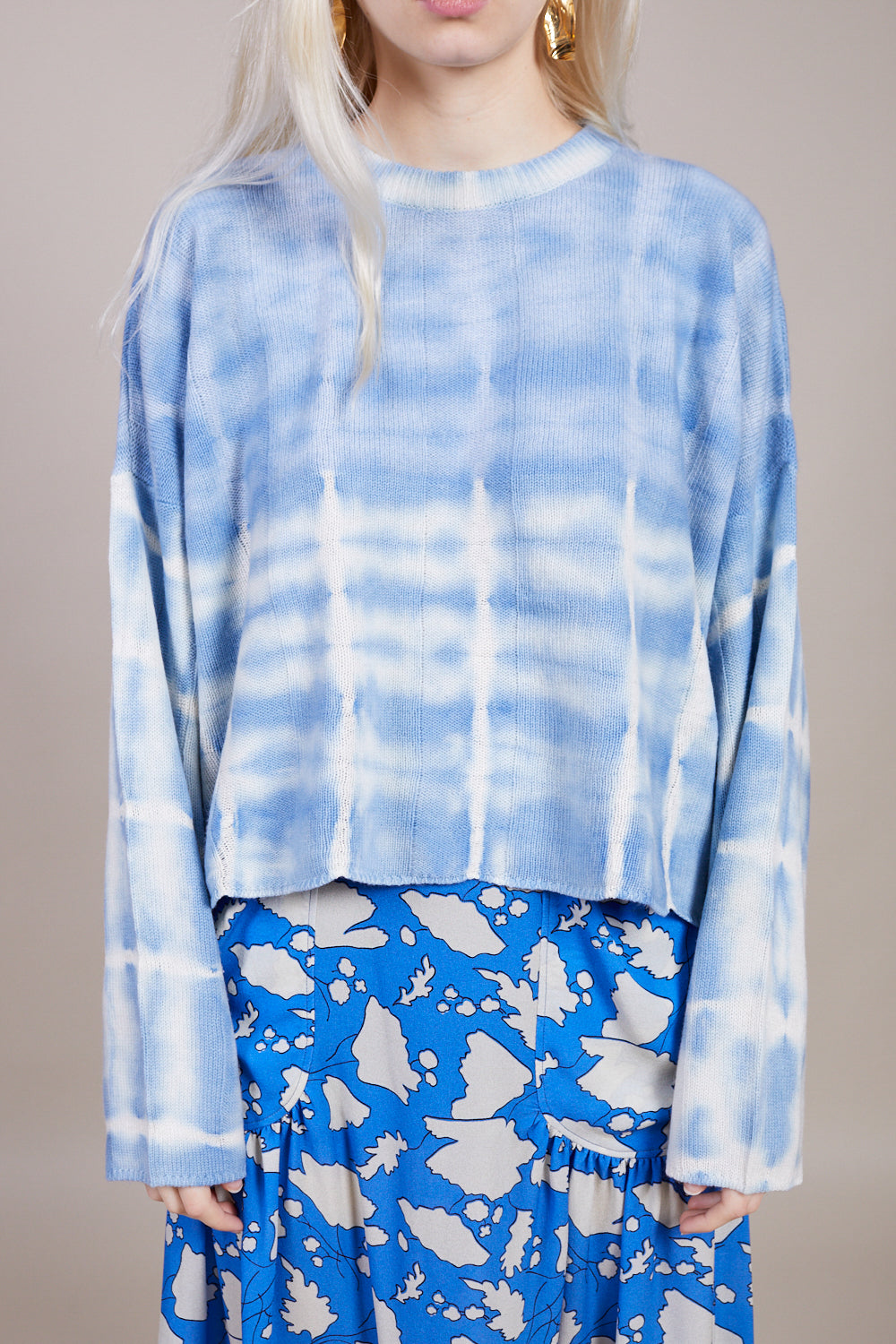 Raquel Allegra Boxy Crew in Blue Stripe Tie Dye - Vert & Vogue