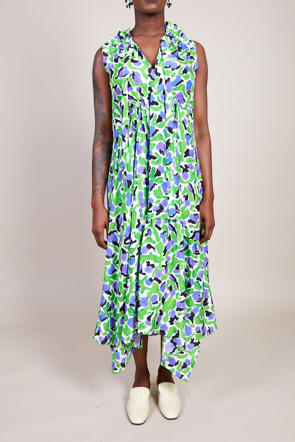 Dican Dress in Green Lotus