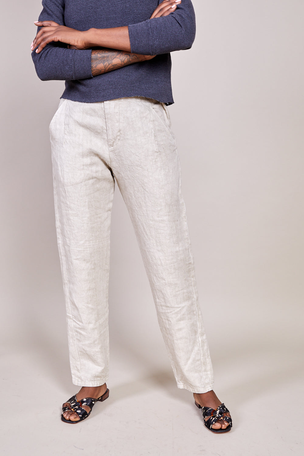 Tapered Denim Pants in Natural