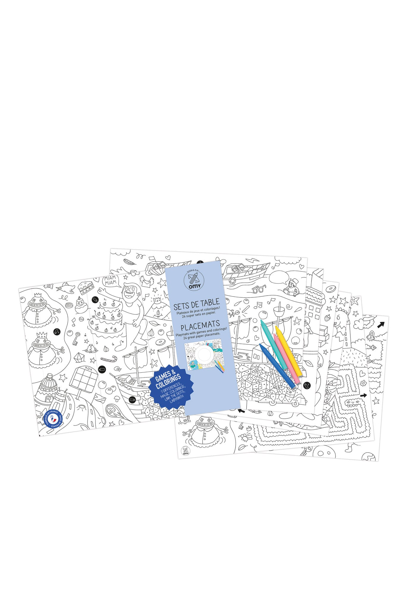 Omy Games Coloring Paper Placemats Set - Vert & Vogue